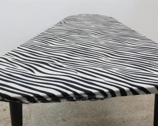 ITEM 300--MCM zebra pattern boomerang coffee table. minor stain, fabric lifting at ends.  PIC 3