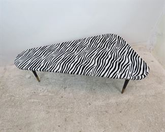 """ITEM 300--MCM zebra pattern boomerang coffee table. minor stain, fabric lifting at ends.  48"""" long, 26.45"""" wide, 15.25"""" high. $175.00"""