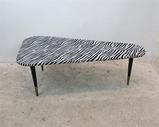 ITEM 300--MCM zebra pattern boomerang coffee table. minor stain, fabric lifting at ends.  PIC 2