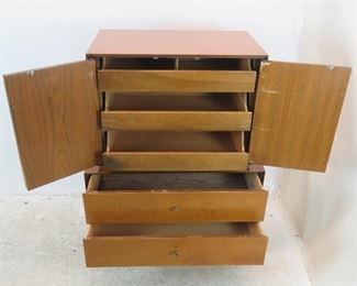 ITEM--302--  2 piece MCM high chest. {needs TLC-top has wood/hinge damage, veneer chips, bottom has stains inside drawer]  PIC 3