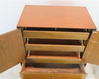 ITEM--302--  2 piece MCM high chest. {needs TLC-top has wood/hinge damage, veneer chips, bottom has stains inside drawer] PIC 5