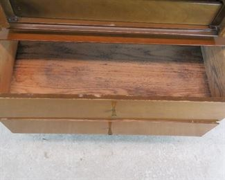ITEM--302--  2 piece MCM high chest. {needs TLC-top has wood/hinge damage, veneer chips, bottom has stains inside drawer]  PIC 4
