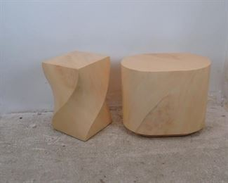 """ITEM--303-- 2 faux marble composition pedestals / tables, minor finish loss, nicks,   oval--26"""" x 18.25"""", 22"""" h,  twist table--14.25"""" x 14.25"""" top,  width 16"""", 23"""" high. $250.00"""