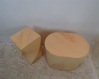 ITEM--303-- 2 faux marble composition pedestals / tables, minor finish loss, nicks, PIC 2