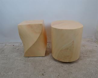ITEM--303-- 2 faux marble composition pedestals / tables, minor finish loss, nicks, PIC 4