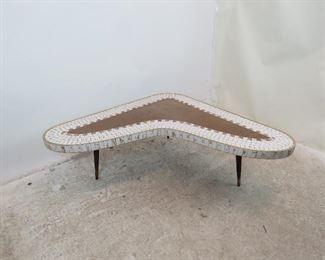 "ITEM-304-- MCM tile top laminate boomerang coffee table.  54"" long, 41"" wide, 15"" high.  $350.00"