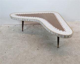 ITEM-304-- MCM tile top laminate boomerang coffee table.   PIC 2