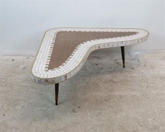 ITEM-304-- MCM tile top laminate boomerang coffee table.  PIC 5
