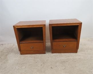 """ITEM 307-- Pair of MCM nightstands by Unagusta. holes in back for cords.  22"""" wide,  16"""" deep,  24.25"""" high                 $ 300.00"""