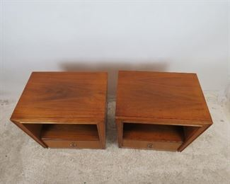 ITEM 307-- Pair of MCM nightstands by Unagusta. holes in back for cords. PIC 2
