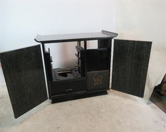 ITEM-309-- MCM cerused ebony, hi fi / television cabinet. no insides or back. great project to re-purpose cabinet.  PIC 3