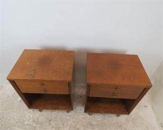 ITEM- 312-- Pair John Stuart MCM 2 drawer nightstands, [top has surface issues]  PIC 2