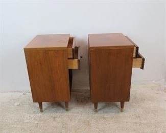 ITEM- 312-- Pair John Stuart MCM 2 drawer nightstands, [top has surface issues]  PIC 4