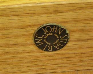 ITEM- 312-- Pair John Stuart MCM 2 drawer nightstands, [top has surface issues]  PIC 3