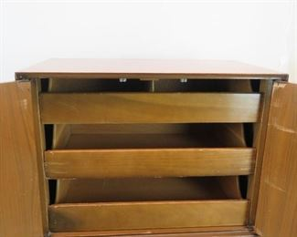 ITEM--302--  2 piece MCM high chest. {needs TLC-top has wood/hinge damage, veneer chips, bottom has stains inside drawer]  PIC 6