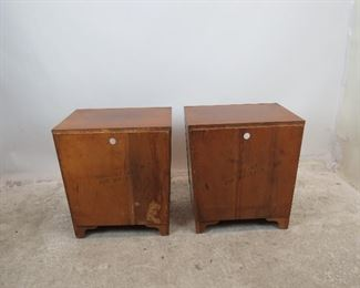 ITEM 307-- Pair of MCM nightstands by Unagusta. holes in back for cords. PIC 4