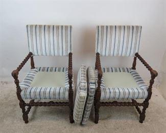 ITEM--350 Pair Jacobean style barley twist arm chairs.  PIC 3