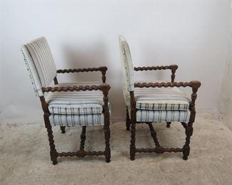 ITEM--350 Pair Jacobean style barley twist arm chairs.  PIC 4