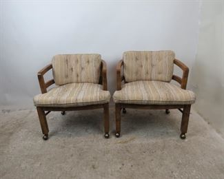 """ITEM--351-- Pair of MCM  Drexel Heritage rolling lounge chairs. 25"""" wide, 27"""" deep, 26"""" high, 14"""" high to seat . $250.00 pair      2 pairs available {total 4 available]"""