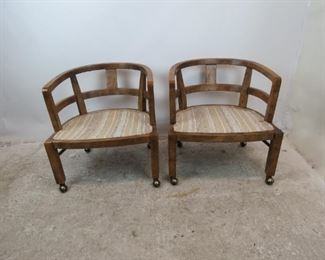 ITEM--351-- Pair of MCM  Drexel Heritage rolling lounge chairs.  PIC 3