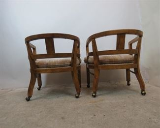 ITEM--351-- Pair of MCM  Drexel Heritage rolling lounge chairs. PIC 4