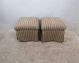 """ITEM -352-- Pair of Sherrill Upholstered ottomans. minor staining.   19"""" w, 19"""" d, 17"""" high   $100.00"""