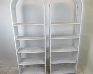 """ITEM -353-- Pair of Dome top white wicker 5 shelf etageres with removable shelving. [has some nicks, dings and scratches,]  27"""" wide, 12"""" deep, 78"""" high, shelves -11.25 x 26""""        $450.00"""