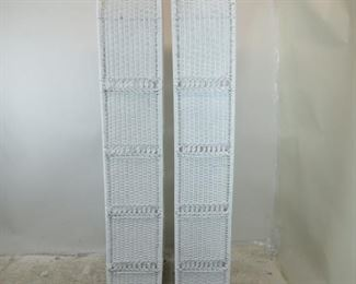 ITEM -353-- Pair of Dome top white wicker 5 shelf etageres with removable shelving. [has some nicks, dings and scratches,]  PIC 2