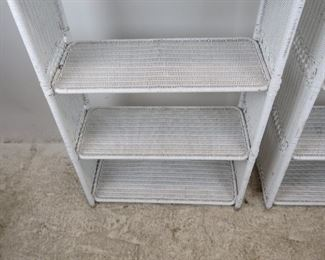 ITEM -353-- Pair of Dome top white wicker 5 shelf etageres with removable shelving. [has some nicks, dings and scratches,]  PIC 5