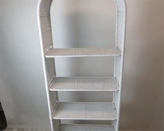 ITEM -353-- Pair of Dome top white wicker 5 shelf etageres with removable shelving. [has some nicks, dings and scratches,]  PIC 6
