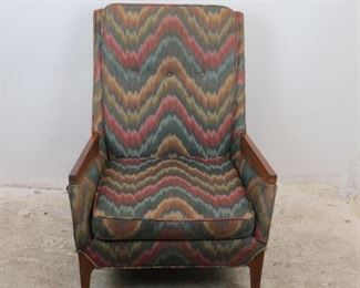 """ITEM-355-- MCM upholstered lounge chair. [chip on back leg]  28.5"""" w, 30"""" deep, 40"""" high,  height to seat. 16"""" with cushion.   $350.00"""
