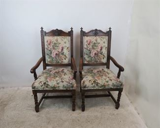 """ITEM-356-- Pair of carved Jacobean oak arm chairs. [minor chips].  25.25"""" wide, 24"""" deep, 45.5"""" high, 17.5"""" high to seat.  $250.00"""