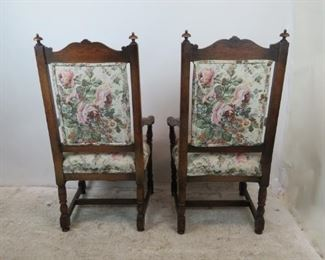 ITEM-356-- Pair of carved Jacobean oak arm chairs. [minor chips].  PIC 5