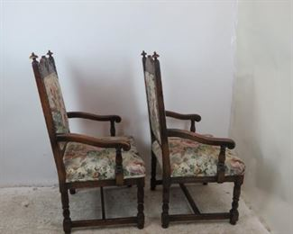 .ITEM-356-- Pair of carved Jacobean oak arm chairs. [minor chips].  PIC 2
