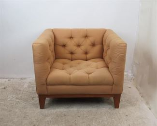 """ITEM-357-- MCM tufted cube lounge chair. minor wood frame nicks and upholstery marks. 33.5"""" wide, 29.5"""" deep, 27.5"""" high,  14.5"""" height to seat.  $250.00"""