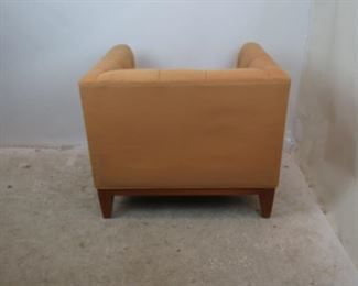 ITEM-357-- MCM tufted cube lounge chair. minor wood frame nicks and upholstery marks.  PIC 4