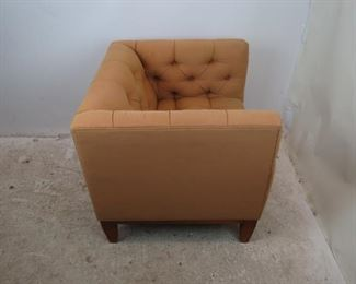 ITEM-357-- MCM tufted cube lounge chair. minor wood frame nicks and upholstery marks. PIC 2