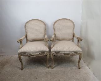 """ITEM-359- Pair of french armchairs  Made by Fairfield.  good overall condition. 26.5"""" wide, 24.5"""" deep, 42"""" high, 19"""" height to seat.  $350.00"""