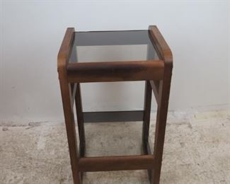 """ITEM-361-- MCM 2 tier [2 tone] bentwood glass top stand w/ bentwood sides. scratches, veneer chip base. 16.5"""" wide, 15.5"""" deep, 30"""" high.  $100.00"""