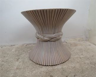ITEM- 362-- Mcguire bamboo wheat sheaf table, no glass, bamboo splits top. PIC 2