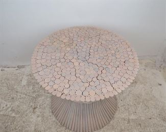 ITEM- 362-- Mcguire bamboo wheat sheaf table, no glass, bamboo splits top. PIC 3