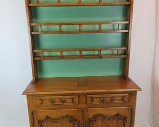 """ITEM- 363--2 part country french step back cupboard with plate rack. comes with key. 51"""" wide, 18.5"""" deep,  buffet 36.5"""" high, Total height 86.5,  hutch top 50"""" high,  molding -53"""" wide.  $750.00"""