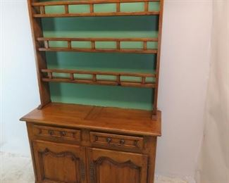 ITEM- 363--2 part country french step back cupboard with plate rack. comes with key. PIC 7
