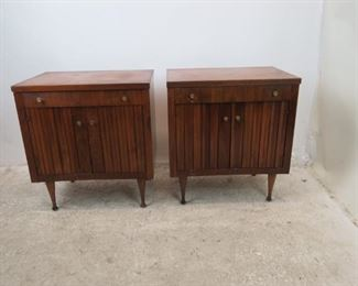 """ITEM- 368-- Pair of MCM walnut nightstands. Great style but has finish ware. needs TLC.  24.25"""" wide, 17.5"""" deep to knobs. 27"""" high. $300.00"""
