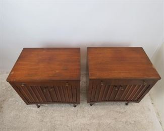 ITEM- 368-- Pair of MCM walnut nightstands. Great style but has finish ware. needs TLC.  PIC 2