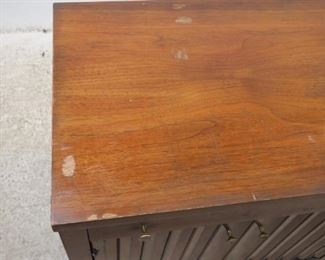 ITEM- 368-- Pair of MCM walnut nightstands. Great style but has finish ware. needs TLC.  PIC 4