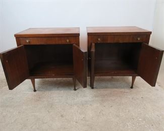 ITEM- 368-- Pair of MCM walnut nightstands. Great style but has finish ware. needs TLC.  PIC 3