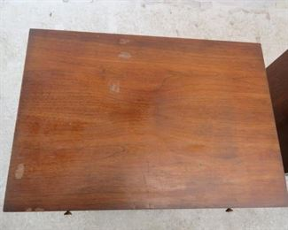 ITEM- 368-- Pair of MCM walnut nightstands. Great style but has finish ware. needs TLC.  PIC 5