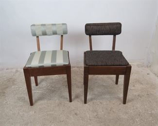 """ITEM 370-- 2 MCM sewing chairs with storage seat. 1 Singer label.  17.25"""" wide, 20"""" deep, 30.25"""" high, 18"""" height to seat.  $150.00 for both or 85.00 each."""