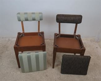 ITEM 370-- 2 MCM sewing chairs with storage seat. 1 Singer label. PIC 2